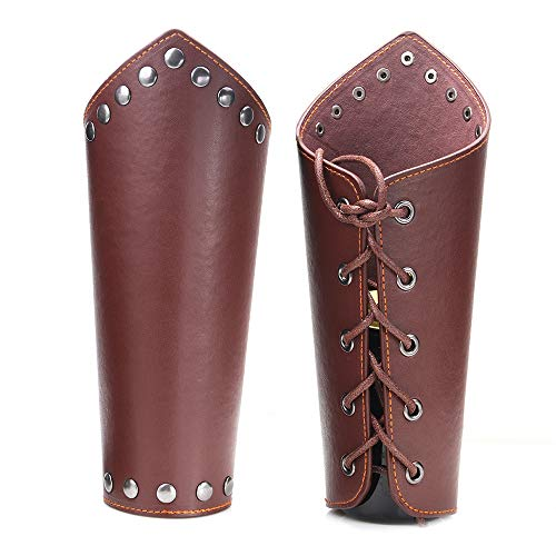AZORA Leather Arm Guards Archery Gauntlet Wristband Medieval Leather bracers Viking Cosplay Wrist Guard for Men Women (2PCS Pack) Brown
