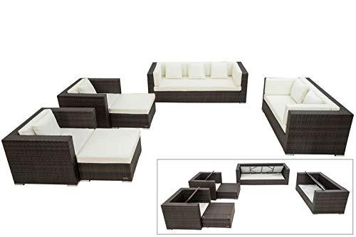 OUTFLEXX Loungemöbel-Set, braun marmoriert, Polyrattan, 9 Pers, wasserfeste Kissenbox