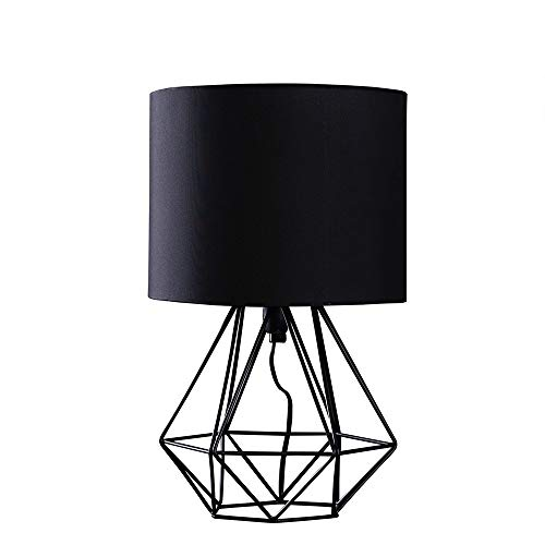 Modern Black Metal Basket Cage Style Table Lamp with a Black Fabric Shade