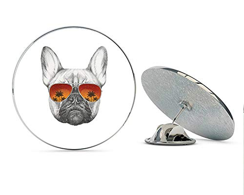 BRK Studio Cool Pencil Sketch Frenchie French Bulldog with Sunset Sunglasses Round Metal 0.75' Lapel Pin Hat Shirt Pin Tie Tack Pinback