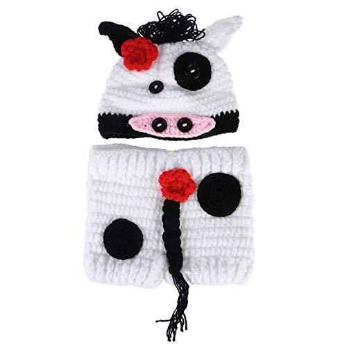 YeahiBaby Neonato Photo Shoot Outfits Mucca Cappello Pantaloni Crochet Costume per Neonato Bambino