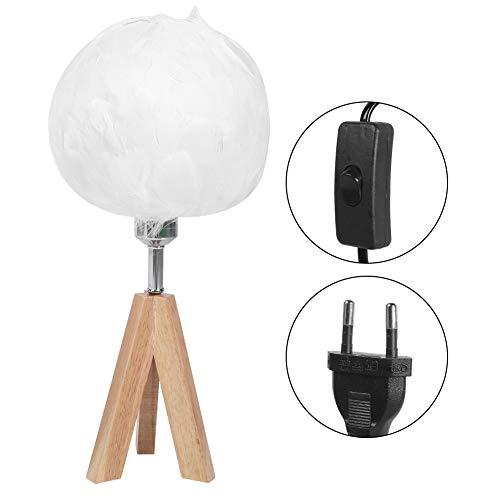 Huishoudelijke Nachtlampje Moderne Veer Tafellamp voor thuis Bruiloft Decoratie Witte lampenkap EU-stekker 220V
