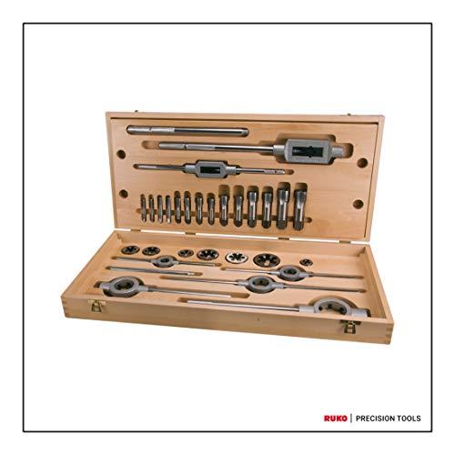 RUKO HSS Schroefdraadsnijset in houten kast, heldere afwerking, 28 stuks, R245074
