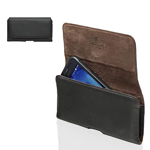 Smart Planet® Design echt lederen telefoonhoes 4XL riemtas compatibel met HTC U11+ U12+ / Huawei Honor 7X 8X / P20 Pro Mate 20 Lite - zwart