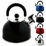 Krollmann 2,5 Liter Edelstahl Flötenkessel Teekessel Wasserkocher Pfeifkessel (Schwarz)