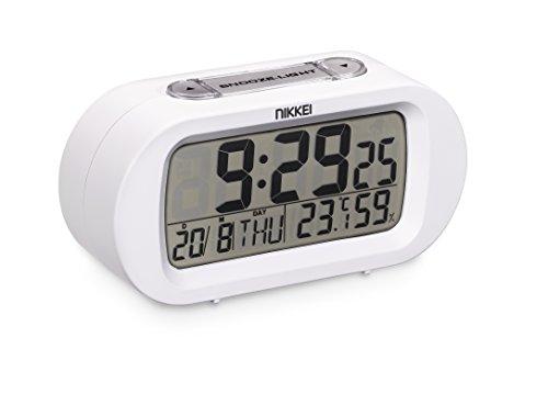 Nikkei NR05WE - Radio Despertador (Pantalla LCD, Compatible con baterías AAA) Color Blanco