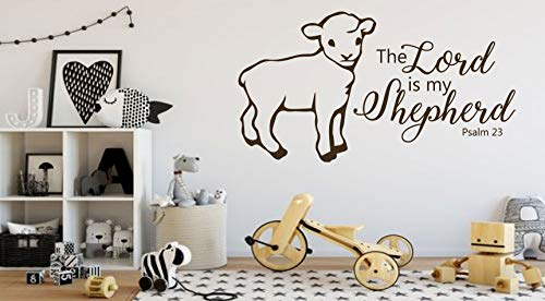 Christian Wall Decal   The Lord is My Shepherd   Psalms 23 Vinyl Scripture Home Decor   Lamb Silhouette   Church or Nursery Decoration   Small and Large Sizes Available