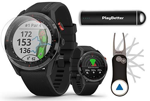 Garmin Approach S62 (Black) Golf GPS Watch PlayBetter Bundle | 2020 Model | +PlayBetter HD Screen Protectors, Garmin Pitchfix Divot Tool & Portable Charger | 010-02200-00