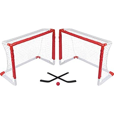 Mini Knee Hockey Goal Set with 2 Goals, 2 Sticks and Foam Ball by Trademark Innovations