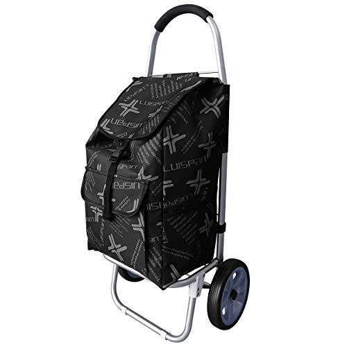 DoubleBlack Carrito de compras con 2 ruedas silenciosas Bolsa desmontable Aleación de aluminio Plegable Tire Empujar Carro Capacidad 40 kg,101 x 44 x 34 Centímetro,48 L-Negro