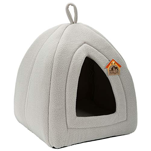 Hollypet Self-Warming 2-in-1 Foldable Comfortable Triangle Cat Bed Tent House, Light Gray