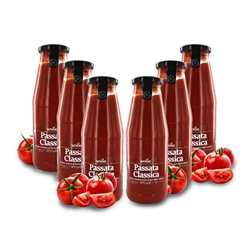 Ursini Tomate al Natural triturado para Salsa, passata Italiana - 670 gr (Paquete de 6 Piezas)