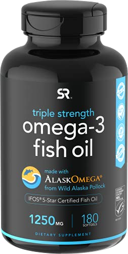 Omega 3 Fish Oil from Wild Alaska Pollock (1250mg per Capsule) with Triglyceride EPA & DHA | Heart, Brain & Joint Support | IFOS 5 Star Certified, Non-GMO & Gluten Free (180 Softgels)