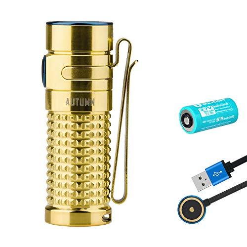 Olight S1R II - Linterna recargable de titanio y cobre EDC, edición limitada lateral, luz LED compacta
