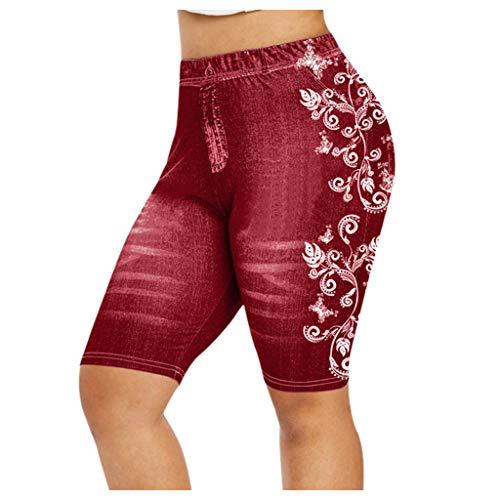 jieGorge Pantalones, Tallas Grandes para Mujer Skinny 3D Faux Print Jeggings Casuales Faux Denim Jean Shorts,...