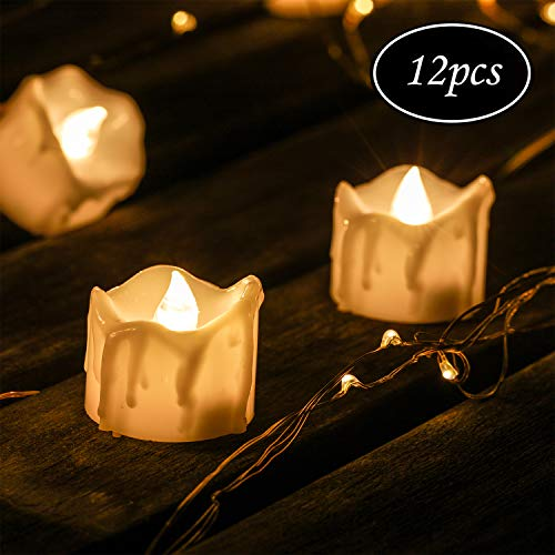 Kohree LED Kerzen, 12pcs LED Flammenlose Kerzen Flackernd Teelichter Elektrische Kerze Lichter mit CR2032 Batterien, Dekoration für Weihnachtsbaum Ostern Hochzeit Party - Warm weiß