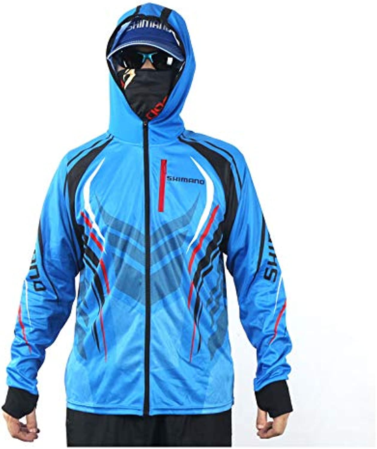 YUNDONGFU Sun predection clothing bluee Summer New Outdoor Ice cold feeling Sun predection Fishing clothing Quick-drying Breathing Anti-purple Fishing clothing