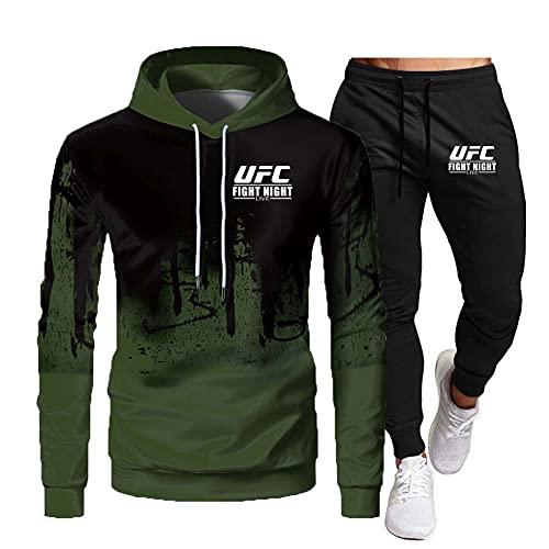 SHIXR Hombres MMA Fitness UFC Sudadera con Capucha y Pantalones Impresos Sudadera para Correr Camisa Traje de Jogging para Hombres Traje de chándal de Manga Larga Traje de Sudadera,Verde,L