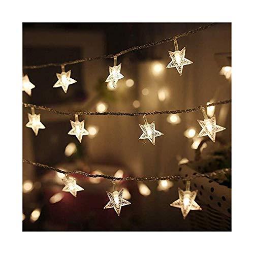 MUZIWENJU 20.10 LED-Stern-Lichterkette Twinkle Garlands batteriebetriebene Weihnachtslampen-Feiertags-Party-Hochzeit Dekorative Lichterketten for Garten, Terrasse, Zaun, Balkon, Im Freien