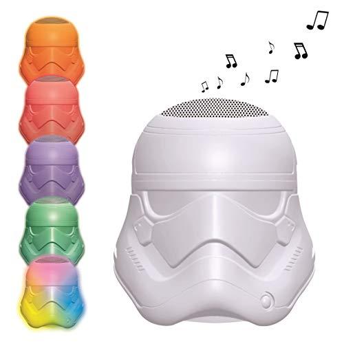 LEXIBOOK - Decotech Enceinte Bluetooth Lumineuse Stormtrooper Star Wars Rey Poe Finn BB-8, Changement de Couleur, Batterie Rechargeable, Blanc/Multicolore, BTL710SW