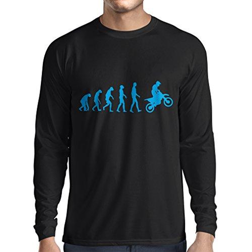 lepni.me Camiseta de Manga Larga para Hombre Evolución del Motocross Equipo de Moto Ropa de Carreras Todoterreno (X-Large Negro Azul)