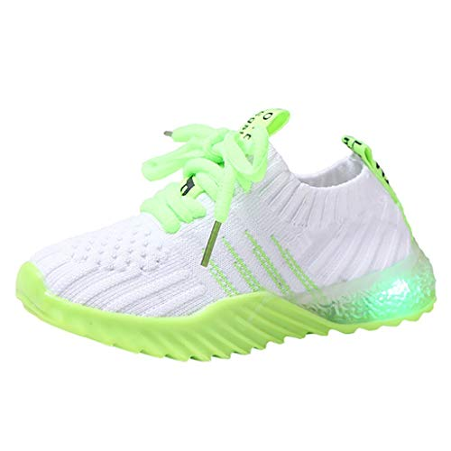 Children Kid Baby Girls Boys Candy Color Led Luminous Sport Run Sneakers Shoes 1-6Y Green
