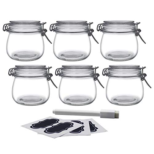 YEBODA 16oz Food Storage Canister Glass Jars with Clamp Airtight Lids and Silicone Gaskets for Multi-Purpose Kitchen Containers - Clear Round (6 Pack)