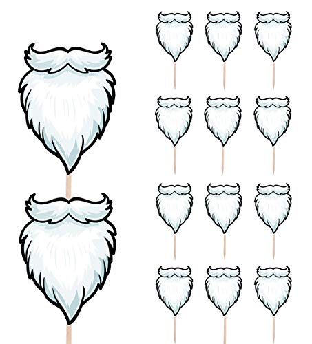 Santa Beards Christmas Party Food Cake Cupcakes Picks Sticks Decorations Toppers Stand Up Food Flag (Pack of 14)