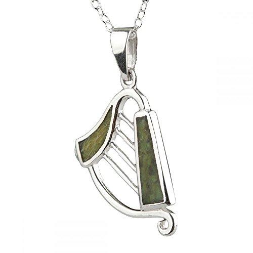 Irish Harp - Irische Harfe Anhänger & Kette aus Sterling Silber & Connemara Marmor