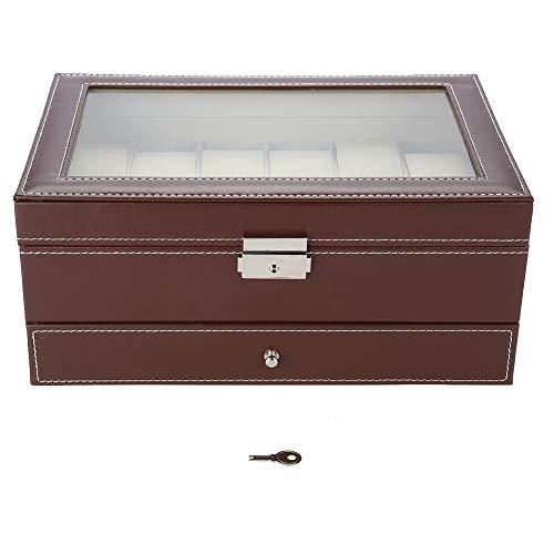 Uhrenbox für 12 Uhren, Organizer, für Herren, Uhren und Schmuck, mit Top aus Acrylglas
