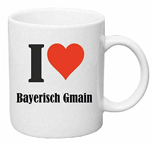 Reifen-Markt Kaffeetasse I Love Bayerisch Gmain Keramik Höhe 9,5cm ? 8cm in Weiß