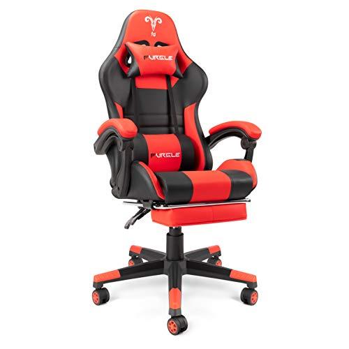 Furgle Office Gaming Chair Silla de Carreras con Respaldo Alto y reposabrazos Ajustables Piel sintética Silla de Videojuegos giratoria con Modo balancín (Negro/Rojo1)