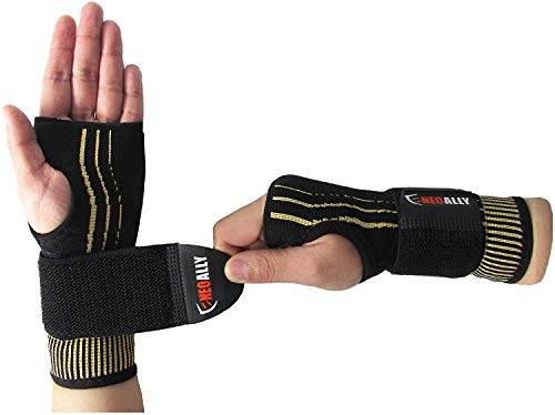 NeoAlly Copper Compression Wrist Sleeve for Carpal Tunnel Gloves with Adjustable Strap for Wrist Support in Carpal Tunnel, Arthritis, Tendonitis, Bursitis and Wrist Sprain (S Pair)