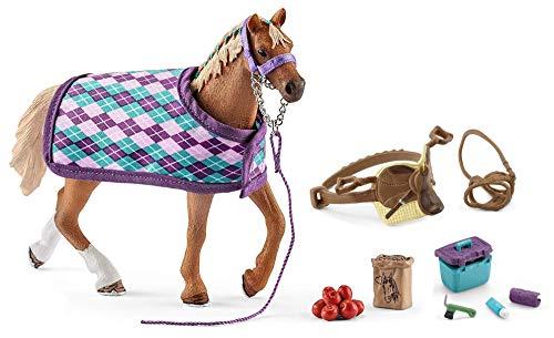 3in1-SET Schleich Pferde Horse Club - Englisch Vollblut mit Decke + Sattel und Pflegeset 42360 + 42492 + 42366