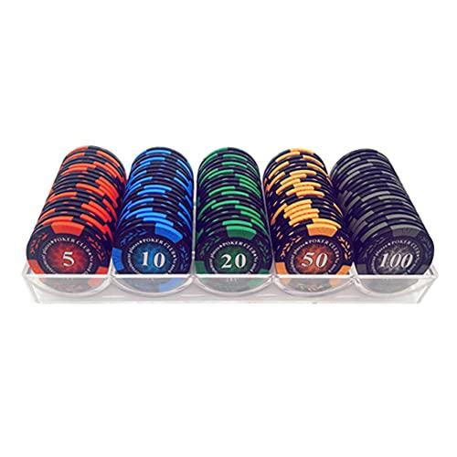 YYHJ Profesional Juego Set de Poker, 100 Fichas de Póquer,para Accesorios para Fichas de Póker de Casino