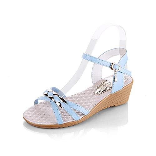 Sandalias ortopédicas,Pendiente de tacón Alto con Sandalias de Mujer, Sandalias de Fondo Grueso de Punta Abierta-Cielo Azul_39,Pantuflas Transpirables