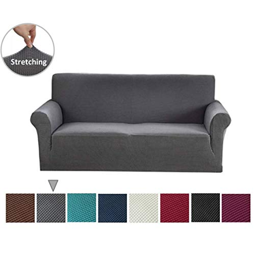 Argstar Jacquard Sofa Slipcover, Gray Stretch Couch Slip Cover, Spandex Furniture Protector for 3 Cushion Seater, Sofa Cover for Living Room, Machine Washable