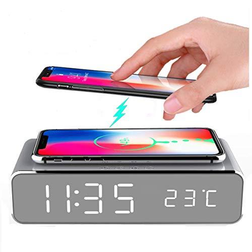 Se elektrische wekker met led-klok mobiele telefoon oplader desktop draadloze thermometer digitaal