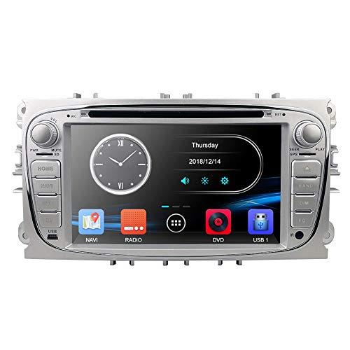 Reproductor multimedia para coche Radio de coche doble Din Reproductor de DVD de 7 pulgadas con GPS Navi para Ford Focus Mondeo Galaxy S-MAX C-MAX Dab + Bluetooth USB SD DVD Control del volante Plata