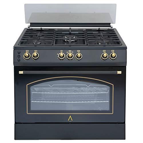 ALPHA Cocina de Gas VULCANO GOLD-90 Rustica. Encendido automático y temporizador en horno. **Alta Gama**