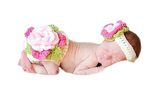 DELEY Filles de Bébé au Crochet Tricot Fleur Bandeau Pantalon Ensemble des Nouveau-nés Photo des Accessoires de Costumes de 0 à 6 Mois