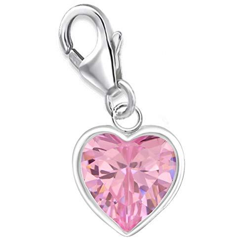 Zirkonia Herz Charms Anhänger für Bettelarmband 925 Echt Silber Kinder Mädchen Damen Sterlingsilber (M4 / Rosa)