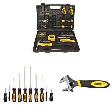 Stanley 94-248 65-Piece Homeowner's Tool Kit w/60-100 10-Piece Standard Fluted Screwdriver Set and 90-947 6-Inch MaxSteel Adjustable Wrench