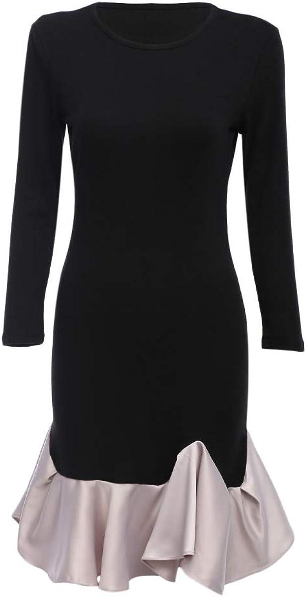 Newdeve Women's Dresses Long Sleeves Casual Midi Dresses