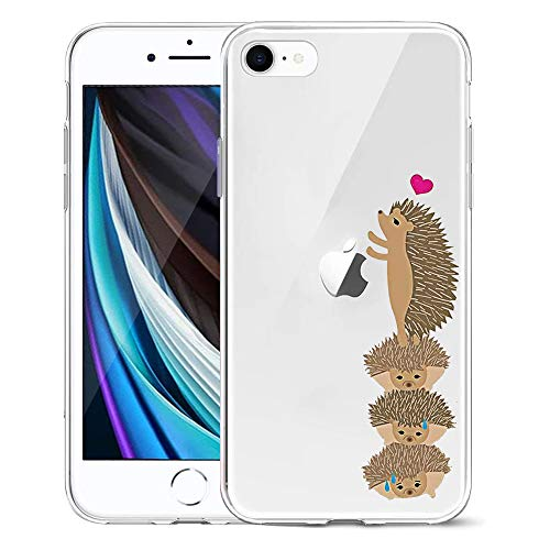 Oihxse Coque Compatible pour iPhone Se 2020/iPhone 9 de Protection Transparente Silicone Antichoc TPU Ultra Mince Housse arrière Résistant aux Rayures Couverture Gel Bumper(Hérisson Mignon)