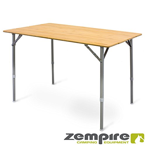 Zempire XXL Design Campingtisch Bambusplatte Klapptisch Falttisch Tisch Flaschenöffner höhenverstellbar 105 x 65 x 65/43cm