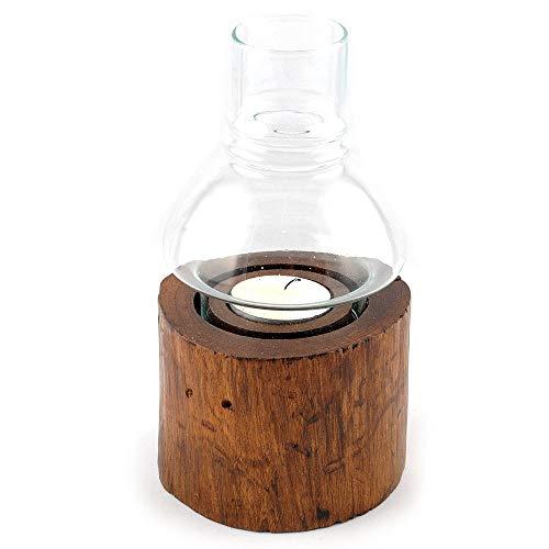 Gedeko Windlicht Teelichthalter Holz mit Glas Teakholz Rund Braun Rustikal