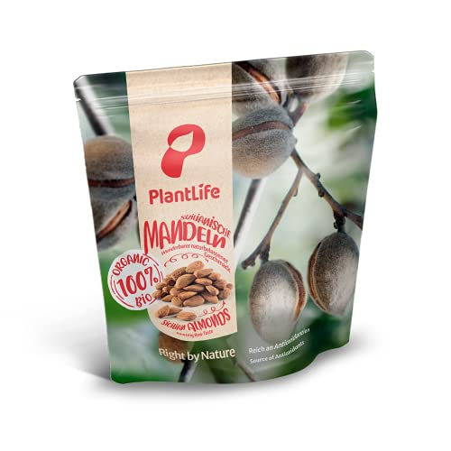 Bio Mandeln 1 kg extra groß aus Sizilien, 100% natürlich mit Haut, Rohkost 1000 gr Packung