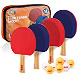 Play22 Ping Pong Paddle Set - 4 Table Tennis Paddles and 8 Ping Pong Balls and Portable Gift Case - Best Gift...