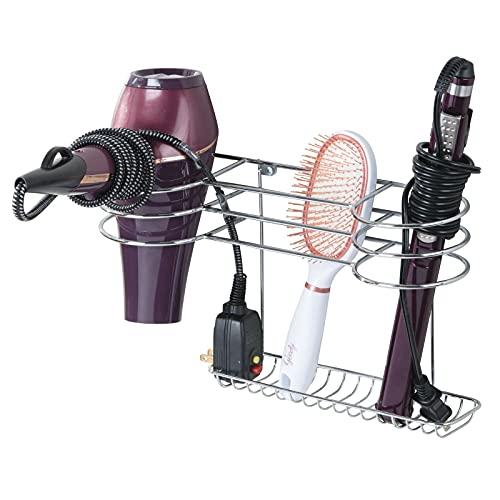 mDesign Soporte para secador de pelo para colgar en la pared - Ideal para artículos de peluquería como el secador o el rizador - Repisa de baño de metal con 2 cestas y un estante - plateado